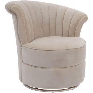 Touri Taupe Velvet Swan Chair